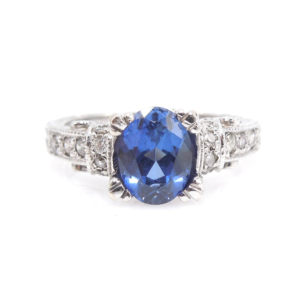 Art Deco Style White Gold Large Sapphire and Diamond Ring
