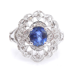 Art Deco Style Natural Sapphire and Diamond Ring