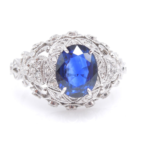 Vintage 1.5 Carat Oval Sapphire in 18K White Gold and Diamond Mounting