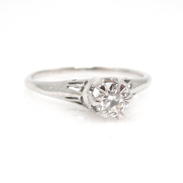 Art Deco Diamond Solitaire - 18K White Gold - 0.30ct