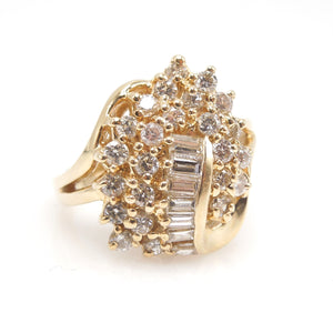 Vintage Yellow Gold and Diamond Cocktail Ring
