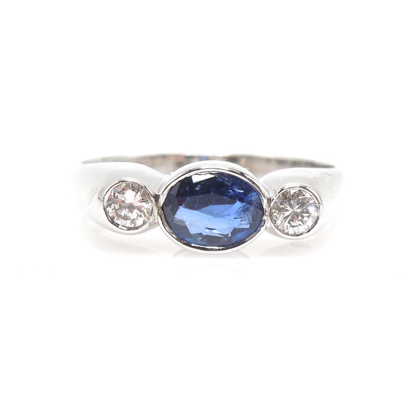 Natural Sapphire and Diamond Ring in 18K White Gold