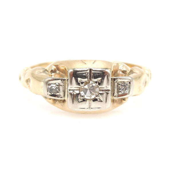 Original 1930s White and Yellow Gold Diamond Ring