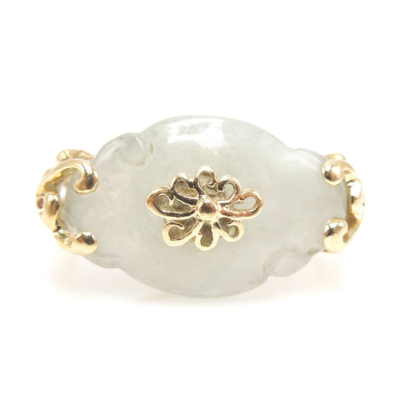 Carved Jade Ring in Yellow Gold Mounting