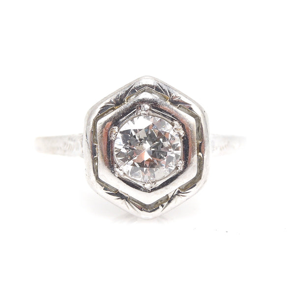 Hexagonal 18K White Gold and Diamond Engagement Ring