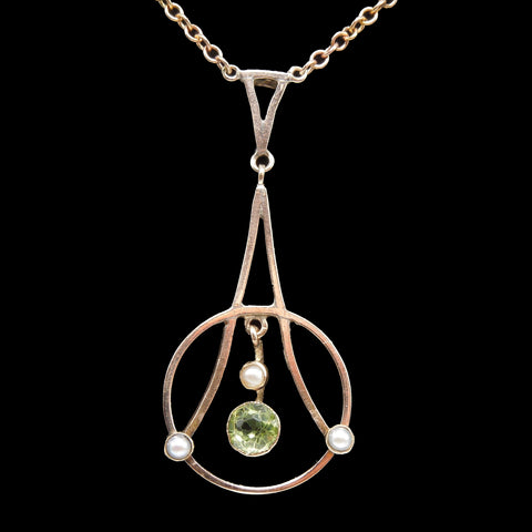 Antique Gold Art Nouveau Necklace with Peridot and Pearls
