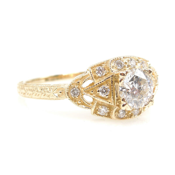 The Eye Ring - Art Deco Style Engagement Ring in 14K Yellow Gold - 0.51ct Diamond