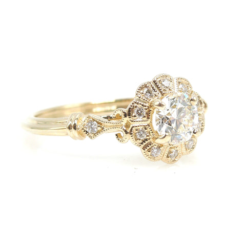 Half Carat Diamond in 14K Yellow Gold Art Deco Style Mounting with Scalloped Diamond Halo