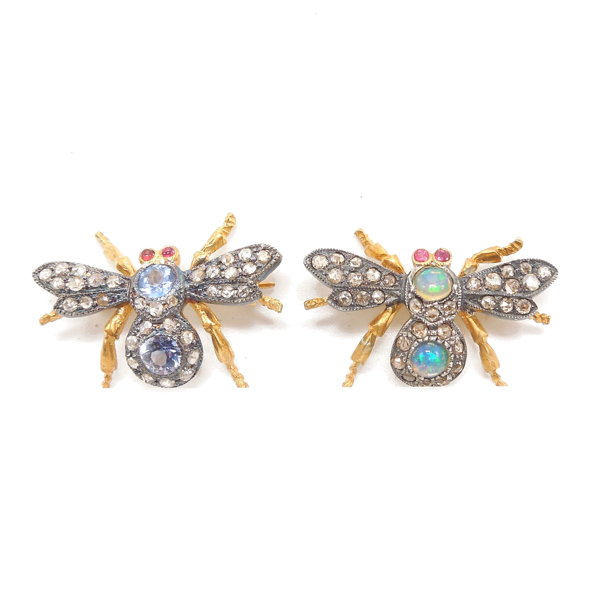 Pair of Gilded and Oxidized Sterling Silver Bee Pin/Pendants with Opals, Diamonds, and Sapphires