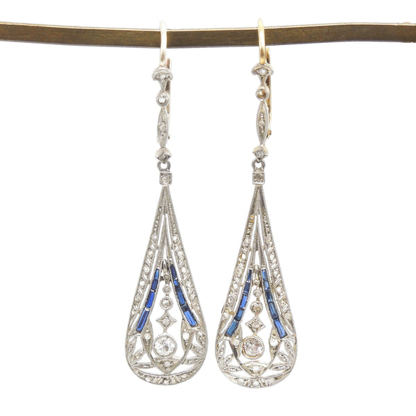 Edwardian Platinum and 18K Yellow Gold Drop Earrings with Sapphires and Diamonds