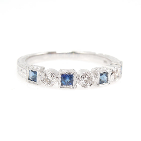Alternating Diamond and Sapphire White Gold Wedding Band
