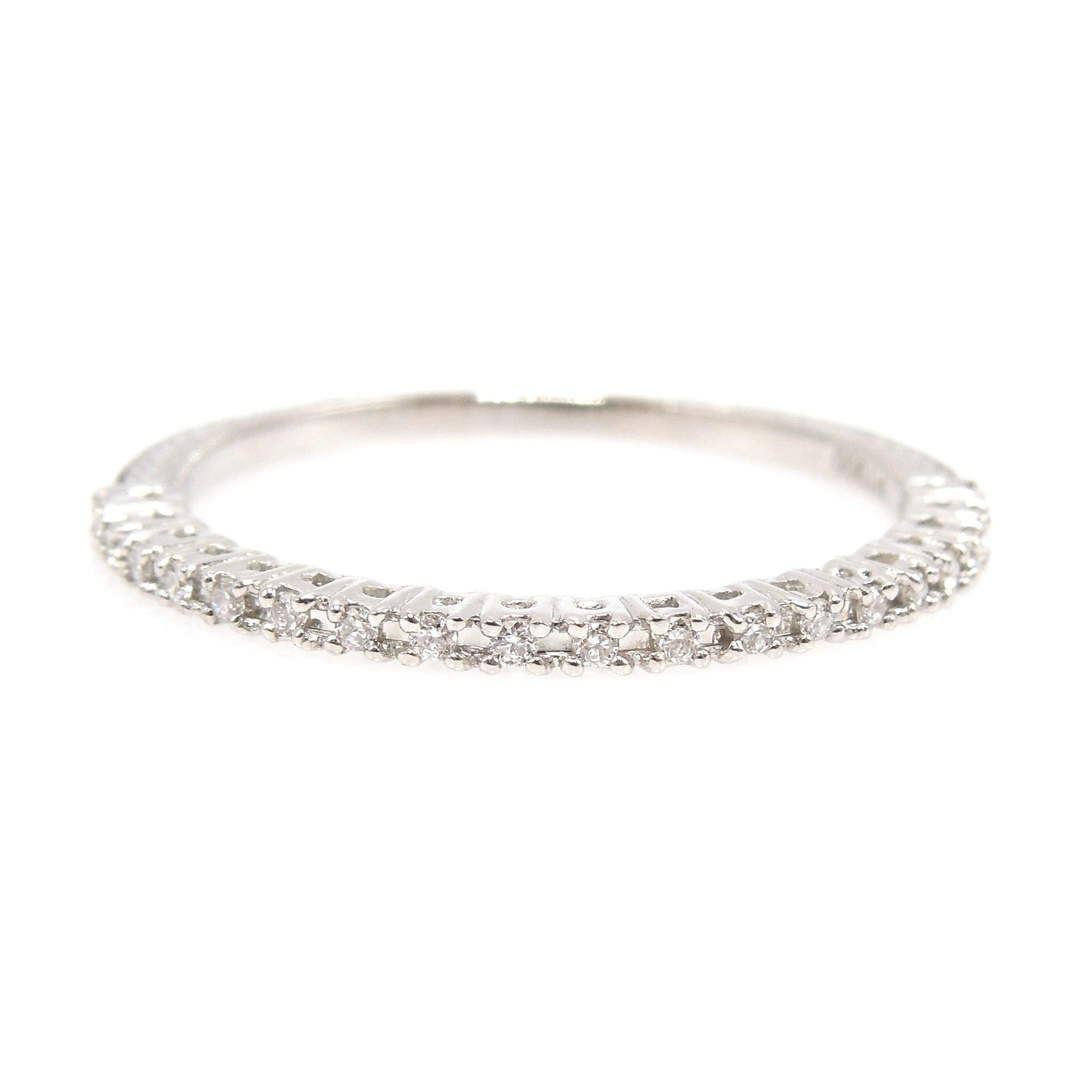 Narrow Platinum and Diamond Band - Perfect for Stacking
