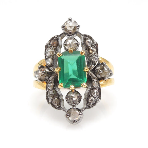 Georgian Style Emerald and Diamond Ring in Silver and Gold Plate