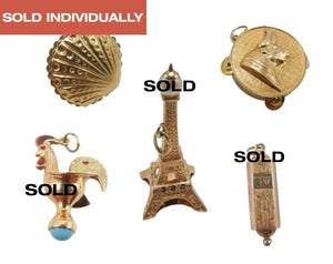 Lot of 6 Gold Charms for Charm Bracelet - Siamese Dancer, Jade Dragon, Pineapple, Cristo Redentor, Chianti Bottle, Elephant
