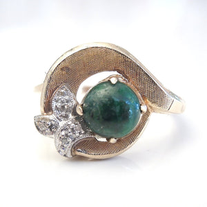 Yellow Gold Malachite and Diamond Ring - Florentine Finish