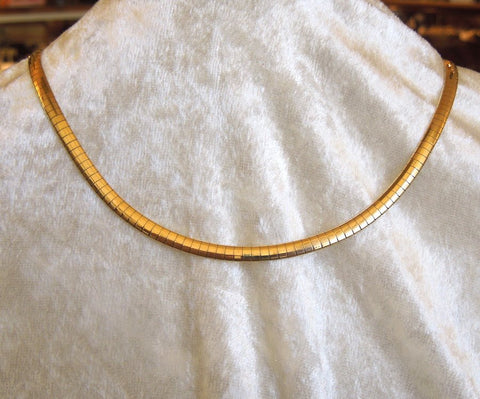 14K Yellow Gold 4mm Omega Chain Necklace