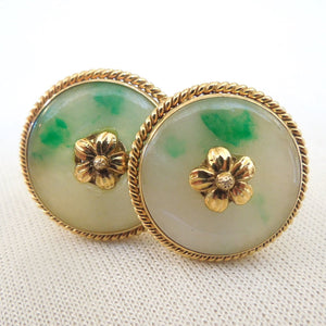 Large 14K Yellow Gold Jade Cufflinks