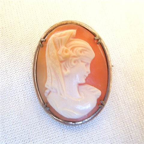 Vintage Victorian Style Shell Cameo Brooch Pendant