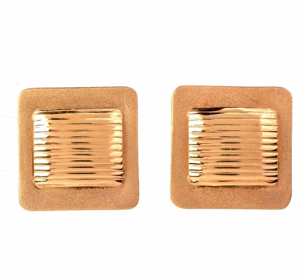 Square Matte Finished Italian 14K Yellow Gold Earrings