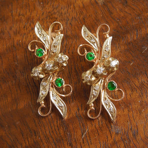Victorian Floral Gold, Diamond, and Sterling Silver Green Glass Earrings
