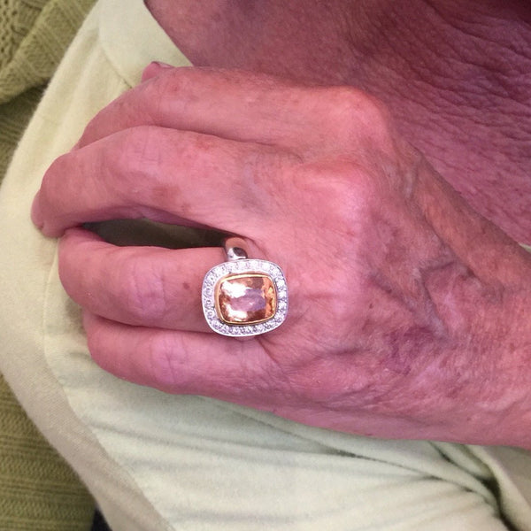 Imperial Topaz with Diamond Halo in 18K Gold Ring