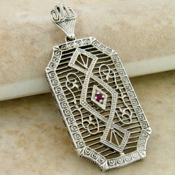 Sterling Silver Edwardian Style Filigree Ruby or Emerald Pendant