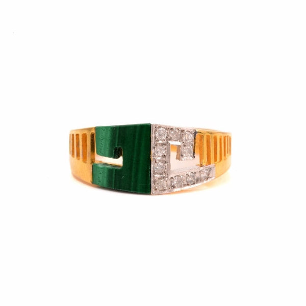 Malachite and Yellow Gold Diamond Ring