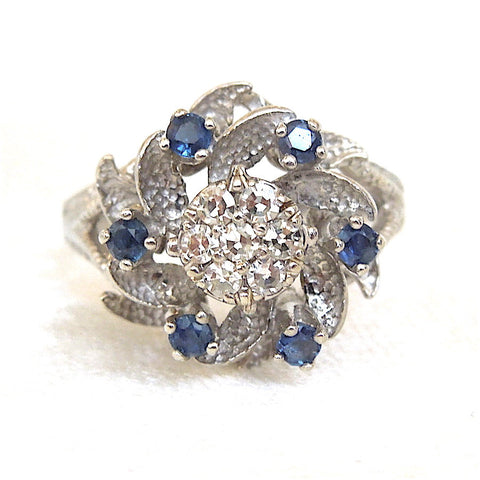 Vintage White Gold Diamond and Sapphire Cluster Ring
