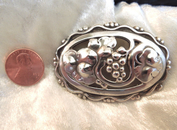 Vintage Georg Jensen Sterling Silver Grape Motif Brooch (1930s - 1940s)