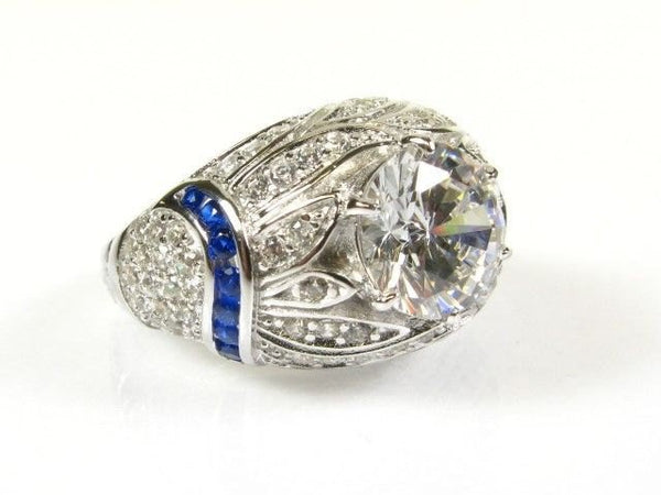 Art Deco Style White Topaz and Sapphire in Sterling Silver Ring