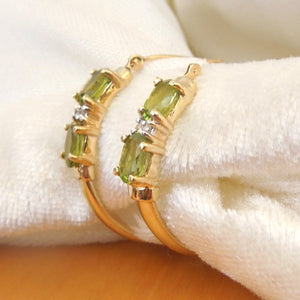 18K Yellow Gold Diamond and Peridot Hoop Earrings