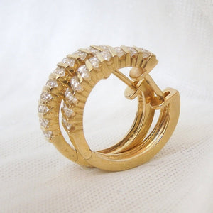 0.40ct Diamond and 18K Yellow Gold Snuggy Hoops