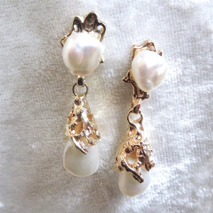 14K Yellow Gold Pearl Nugget Drop Earrings
