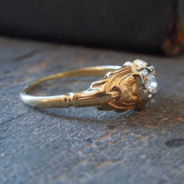 Vintage 1930s Petite Diamond Engagement Ring in Bicolor Gold