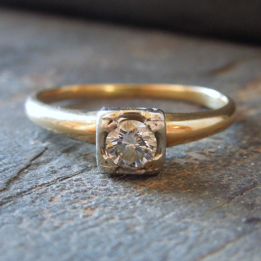 Vintage Quarter Carat Solitaire in Bicolor Gold Engagement Ring