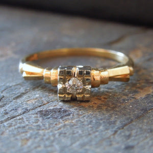 Art Deco Inspired 1930s Vintage Bicolor Gold Diamond Engagement Ring