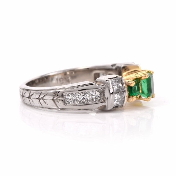 Three Emerald Ring in Bicolor 18K Mounting with Princess Cut Diamonds