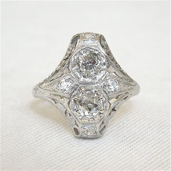 Platinum Two Stone Navette Art Deco Diamond Engagement Ring