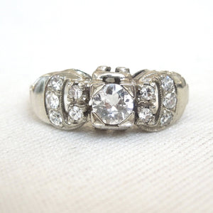 Vintage 1940s Buckle Motif Diamond Ring in 18K White Gold