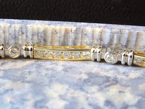 14K Bicolor White and Yellow Gold Diamond Bracelet