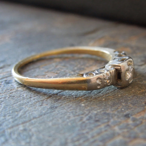 Vintage Petite Diamond Engagement Ring in White Gold and Platinum