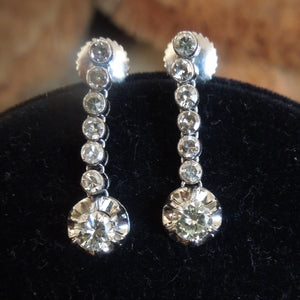Edwardian/Art Deco Platinum and Diamond Drop Earrings