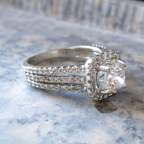 0.66ct Diamond Engagement Ring with Square Halo and Triple Split Shank
