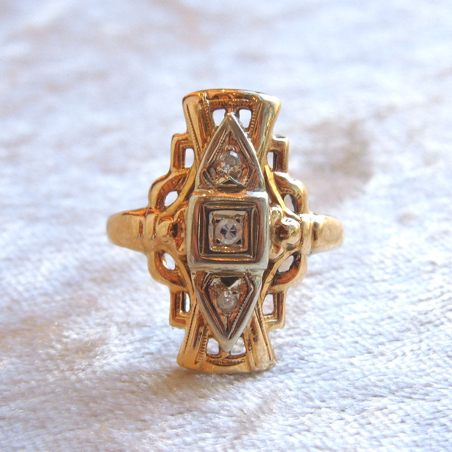 Victorian Bicolor Gold and Diamond Navette Ring