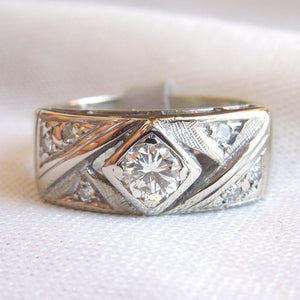 Rectangular White Gold Ring with a Third of a Carat Diamond