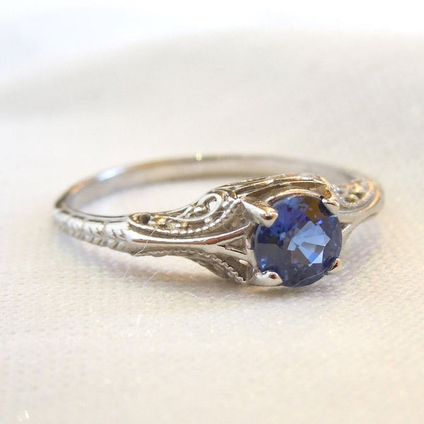 Fine Half Carat Sapphire in Petite Engraved Mounting - 14K White Gold
