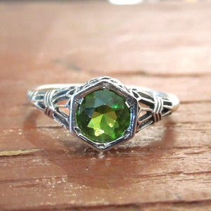 Vibrant Green Peridot in Art Deco Style Sterling Silver Mounting