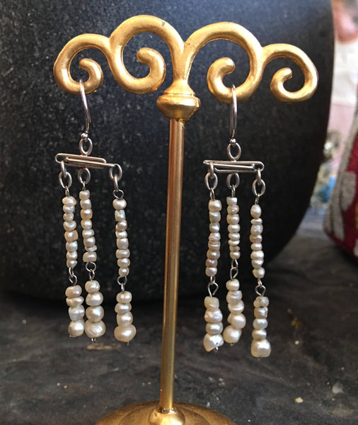 18K White Gold Natural Vintage South Sea Pearl Chandelier Earrings