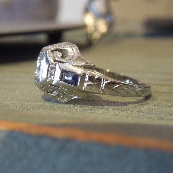 18K White Gold Diamond and Sapphire Art Deco Engagement Ring