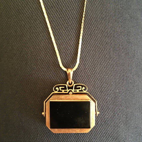Victorian Flip Locket -- Carved Onyx in 10K Yellow Gold